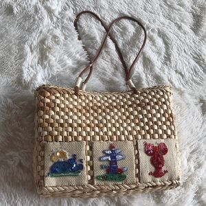 Beaded Sequin Patch Straw Corn Husk weave bag